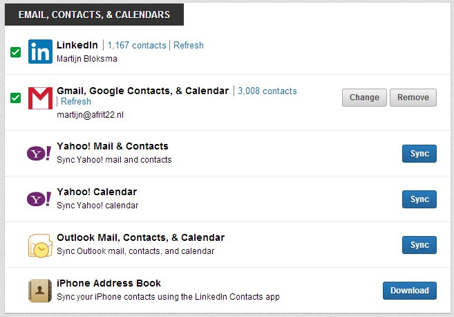 LinkedIn Contacts: Email, Contacten en Kalenders